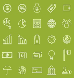 Finance line icons on green background vector image