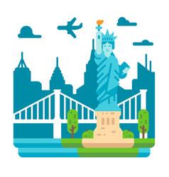 flat design liberty statue new york vector image