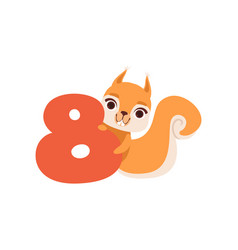 funny cute squirrel animal and number eight vector image