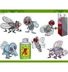 Funny flies set cartoon vector