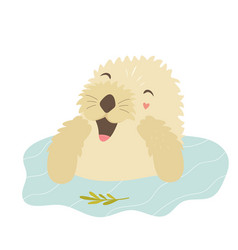 Funny otter taking shower sitting in a river vector