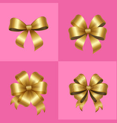 gold decorative bows knots set vector image