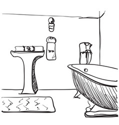 Hand drawn bathroom sketch vector