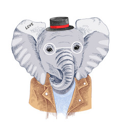 Hand drawn portrait of elephant with accessories vector