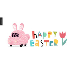 Happy easter and bunny car vector