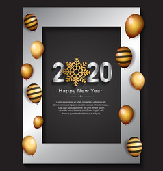 Happy new year 2020 silver color with party vector