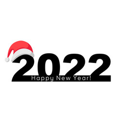 Happy new year 2022 banner with santa claus hat vector