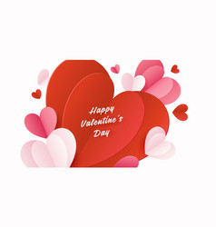 Happy st valentines day card with 3d paper hearts vector