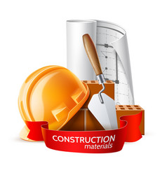 Hard hat blue print mortar trowel and brick vector