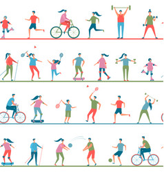 healthy lifestyle people doing sports seamless vector image
