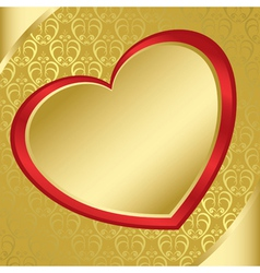 heart on the golden pattern - eps vector image
