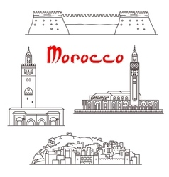 Historic buildings and sightseeings of Morocco vector image