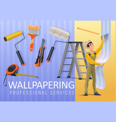 home renovation wallpaper applying service vector image