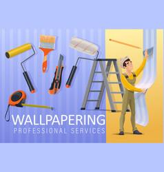 Home renovation wallpaper applying service vector