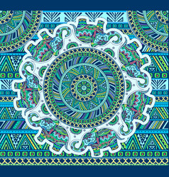 horizontal blue pattern with elephants and ethnic vector image