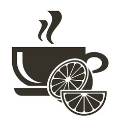icon cup of hot tea with citrus flavor logo in vector image