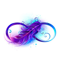 infinity symbol with purple feather vector image