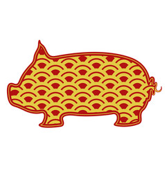 Isolated abstract pig chinese new year vector