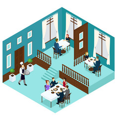 isometric restaurant dining room concept vector image
