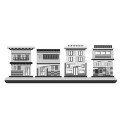 japanese style houses city buildings in grayscale vector image