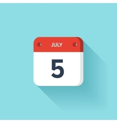 July 5 Isometric Calendar Icon With Shadow vector