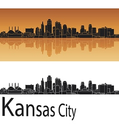 Kansas city skyline in orange background vector