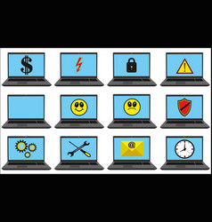 laptops with blue screen set with different symbol vector image