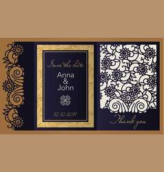 laser cut paper for weddings invitation template vector image