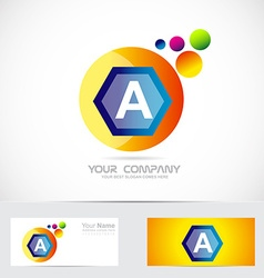 Letter a blue orange sphere logo vector image