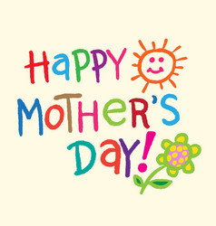 Lettering for mothers day card vector