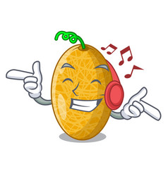 Listening music sweet honeydew melon on bowl vector