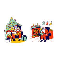 little kids characters sitting on santa knees vector image