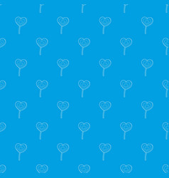 lollipop heart pattern seamless blue vector image