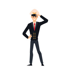 male airline pilot in black uniform and flight vector image