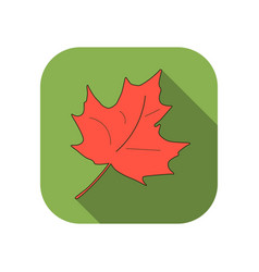 maple leaf flat icon with long shadow autumn leaf vector image