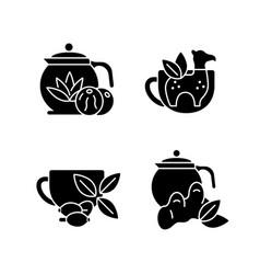 Medicinal tea black glyph icons set on white space vector