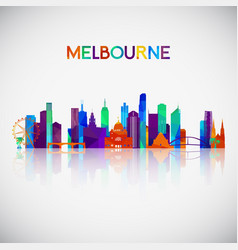 Melbourne skyline silhouette in colorful vector