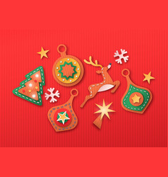 merry christmas 3d paper cut decoration icon set vector image