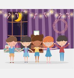 merry christmas celebration kids in living vector image