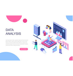 modern flat design isometric big data analysis vector image