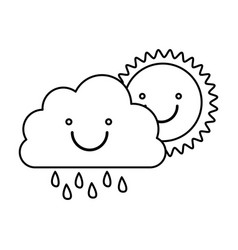 monochrome contour of smiling cloud with rain and vector image