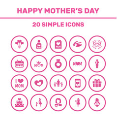 Mothers day icon design concept set of 20 such vector