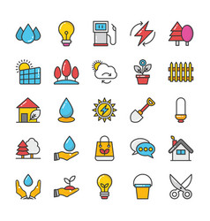 nature colored icons set 2 vector image