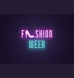 Neon composition headline fashion week text vector