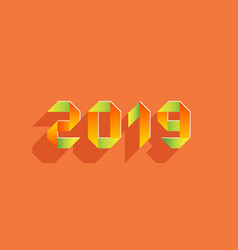 new 2019 year paper card made in origami style vector image