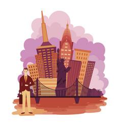 New york city landscape cartoon of vector