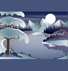 Night winter landscape mountain lake and moon vector