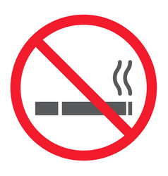 no smoking glyph icon prohibition and forbidden vector image