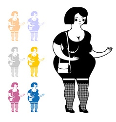 Prostitute icon hooker in flat style set colored vector