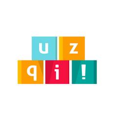 Quiz logo icon text in cubes game symbol vector